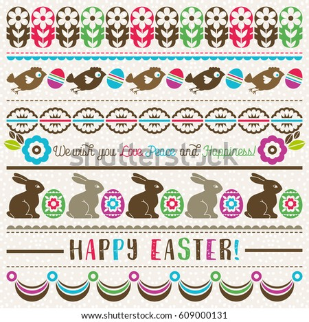 easter greetings cards color easter eggs stock vector 609000131