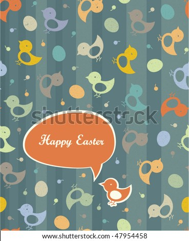 Easter greetings (in retro colors). Seamless chicks and eggs background. - stock vector