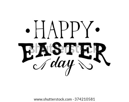 Easter hand drawn lettering on white background - stock vector