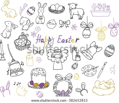 Easter hand drawn vector doodle symbols and objects: ribbons, flowers, bells, candles, colored eggs, angel, bunnies, birds