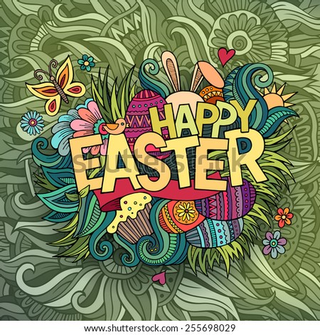 Easter hand lettering and doodles elements. Vector illustration - stock vector