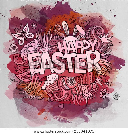 Easter hand lettering and doodles elements. Vector watercolor illustration - stock vector