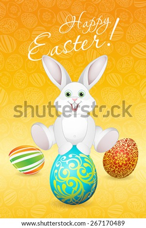 Easter Holiday Card with Eggs and Rabbit - stock vector