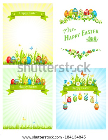 Easter holiday cards set. Festive illustrations with place for text - stock vector