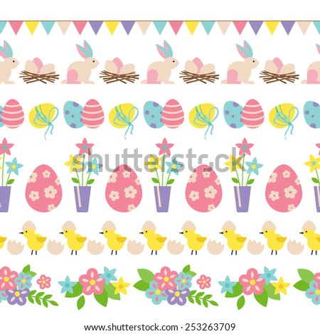 Easter holiday seamless border design with flat elements - stock vector