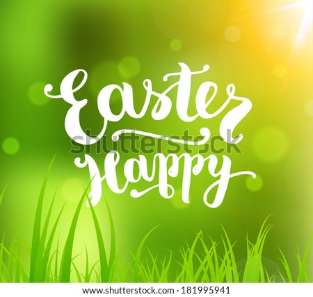 Easter Holiday Vector. Green Spring Design. Grass and Sun. Typographic Lettering Happy Easter. - stock vector