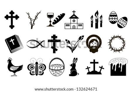 Easter Icons. Black and White. Vector illustration. - stock vector