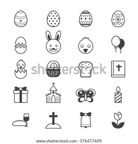 Easter Icons Line - stock vector