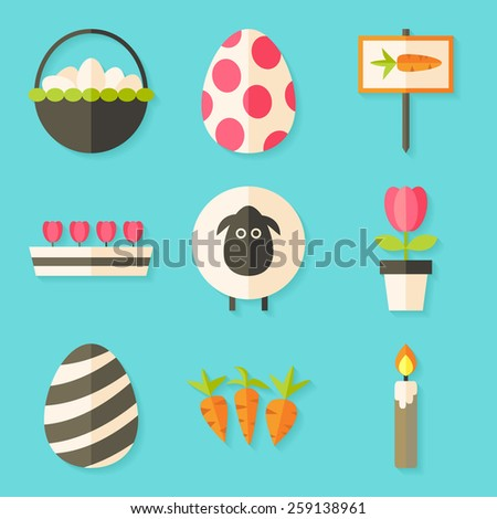 Easter icons set with shadows over blue. Flat styled objects set  - stock vector