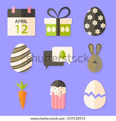 Easter icons set with shadows over violet. Flat styled objects set  - stock vector