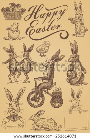 Easter illustration, Hand drawn of vintage rabbits and chicks, EPS 8, vector - stock vector