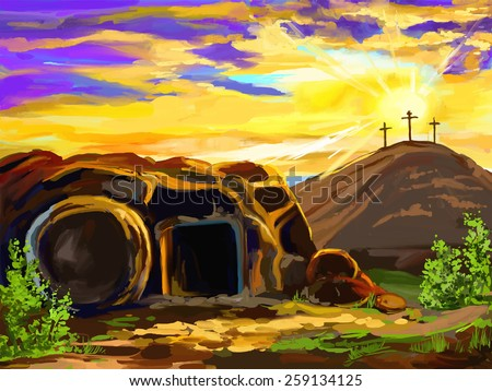 Easter Jesus Christ vector illustration  hand drawn  painted  - stock vector