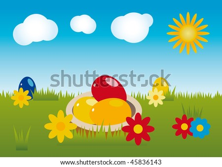 Easter landscape theme with blossoms, eggs, clouds and sun