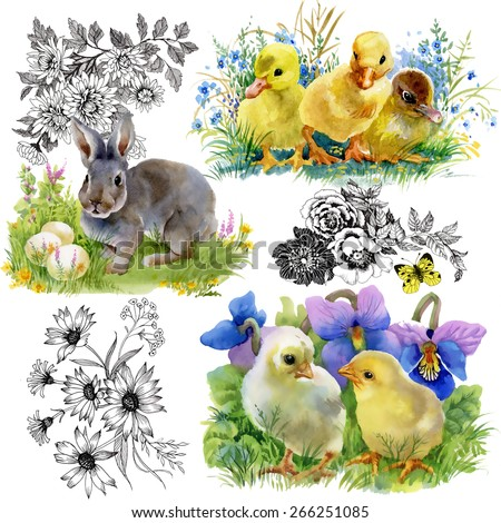 Easter little fluffy cute watercolor ducklings, chickens and hares on white background vector illustration - stock vector