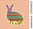 easter ornate rabbit silhouette, holiday greeting card template, colorful background - stock vector