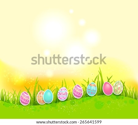 Easter painted eggs on bright background with place for text. - stock vector