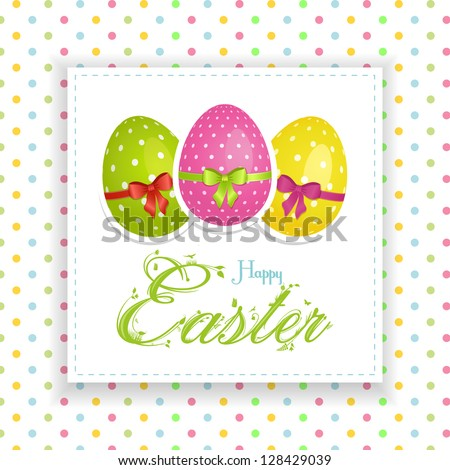 Easter Panel Background with Decorated Easter Eggs and Ornate Easter Text on a Polka Dot background - stock vector