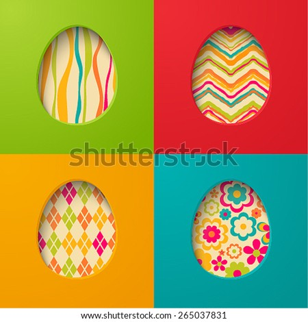 Easter paper cards with egg. Vector illustration. - stock vector