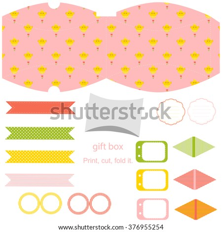 Easter party set gift box template stock vector 376955254 easter party set gift box template empty labels and cupcake toppers and food tags negle Images