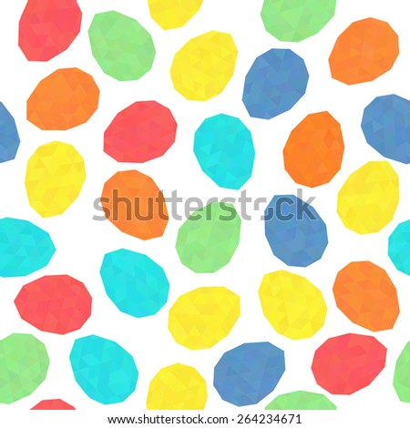 Easter pattern decoration. Easter eggs with low polygonal texture. Seamless vector. Stylized background with bright colored eggs. Seamless holiday backdrop. Triangle texture. - stock vector
