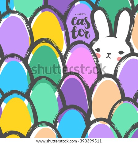 Easter Postcard with Cute Bunny and Eggs. Childish Minimalist Naive Style. Japanese Kawaii Vector Illustration. EPS8.