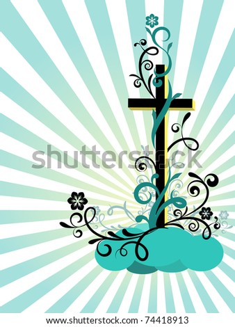 Easter postcard with the religious symbol and the decoration - stock vector
