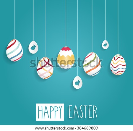 Easter poster. Hanging eggs on blue background with handwritten text. Vector illustration. - stock vector