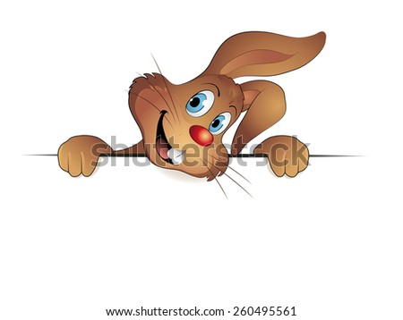 Easter rabbit with banner Vector illustration isolated on white background - stock vector