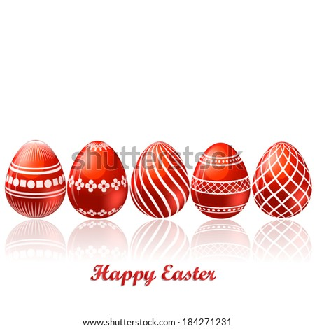 Easter red eggs card - stock vector