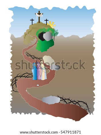 Easter resurrection christian religious holiday vector illustration with the Calvary hill, empty tomb on Easter morning, with three myrrh bearing women and empty tomb.