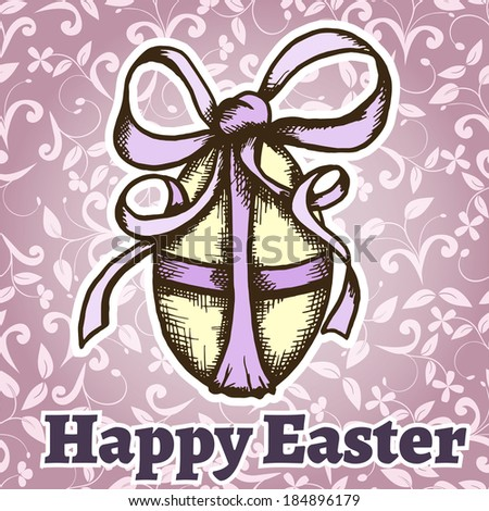 easter retro hand drawn design card Vector illustration can be used for website background and greeting cards or cover decoration