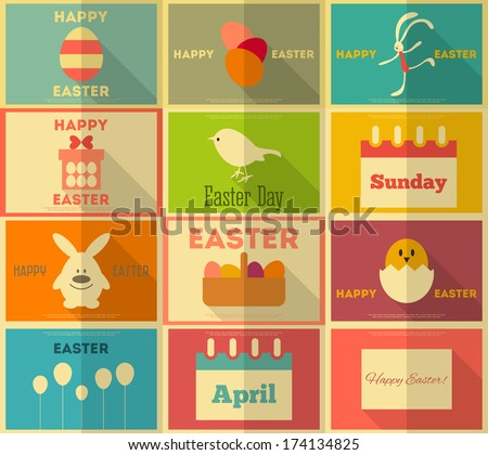 Easter  Retro Posters Collection in Flat Design Style. Vector Illustration. - stock vector