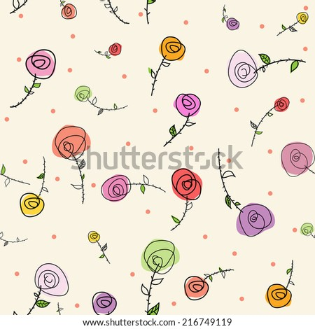 Easter roses seamless pattern - stock vector