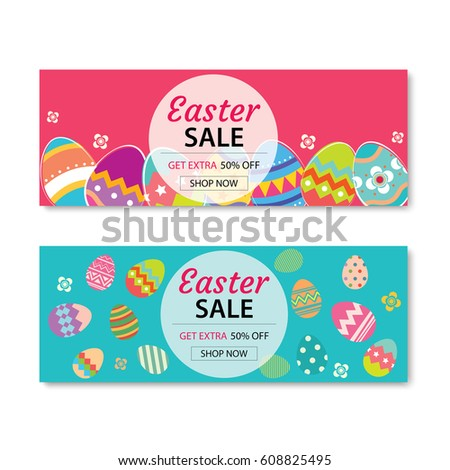 Happy Easter Poster Banner Greeting Card Stock Vector