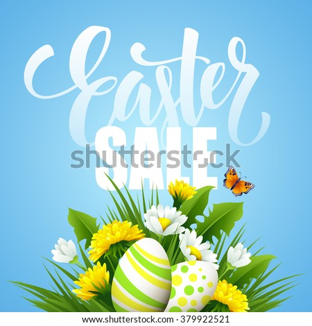 Easter, Sale, Easter card, easter greeting, easter sale, easter sale vector, easter sale background, easter sale pposter, easter sale lettering,easter sale design,easter sale flower,easter sale spring - stock vector