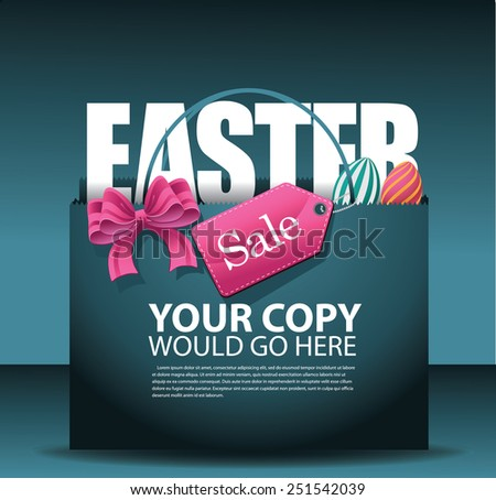 Easter sale shopping bag background. EPS 10 vector, grouped for easy editing. No open shapes or paths. For ads, marketing, poster, flyer, blog, article - stock vector
