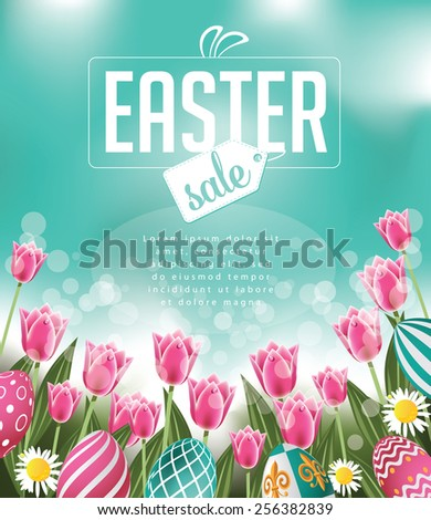 Easter sale tulips eggs and text EPS 10 vector royalty free stock illustration for greeting card, ad, promotion, poster, flier, blog, article, social media - stock vector