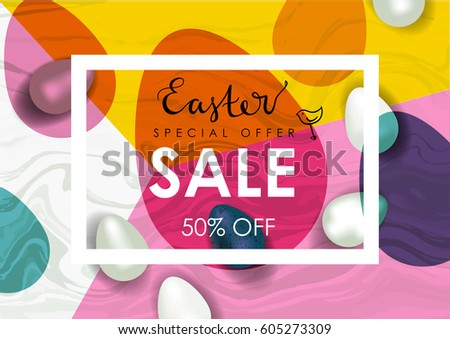 Easter sale vector illustration. Realistic festive eggs and sketch drawing spring birds. Flayer, voucher or coupon template. Marble texture.