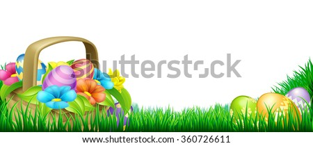 Easter scene footer design. Basket full of decorated chocolate Easter eggs and flowers in a field - stock vector