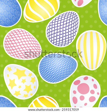 Easter seamless background and Easter egg - stock vector