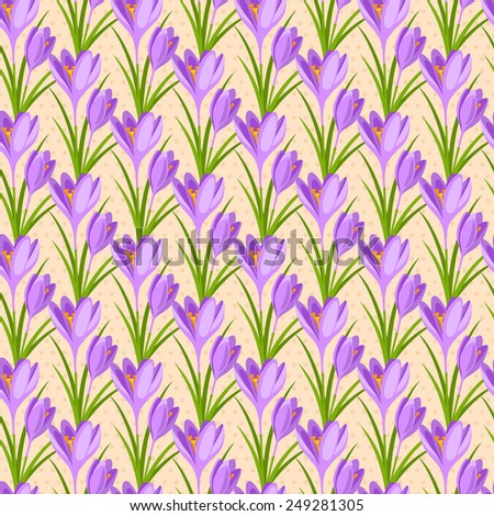 Easter seamless pattern with crocuses. Vector illustration. Spring flowers tiling for Happy Easter Design. - stock vector