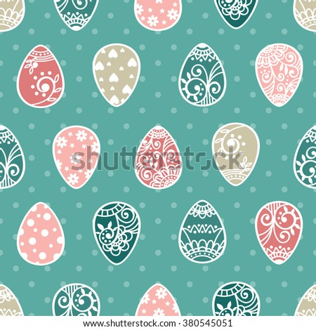 Easter seamless pattern with eggs. Easter eggs. Happy Easter. Vector illustration - stock vector