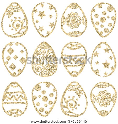 Easter seamless pattern with gold glitter eggs on white background. Easter eggs set. Gold Easter eggs. Easter background. Vector illustration - stock vector