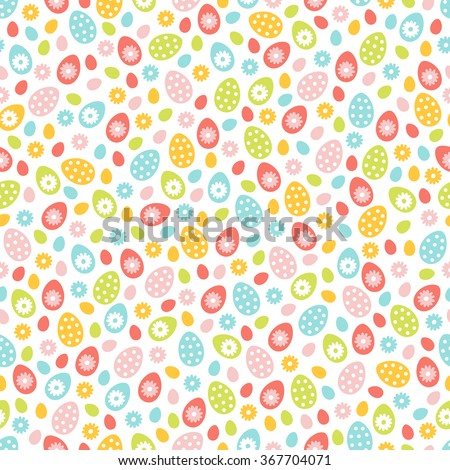 Easter seamless pattern with small holiday eggs and daisy flowers. Perfect for wallpaper, gift paper, pattern fills, web page background, spring and Easter greeting cards - stock vector