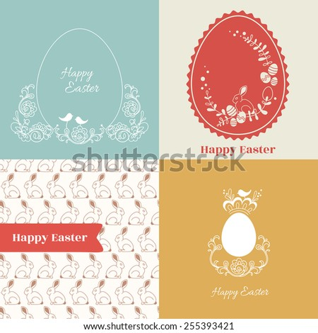 Easter set. Card, label, seamless pattern. - stock vector
