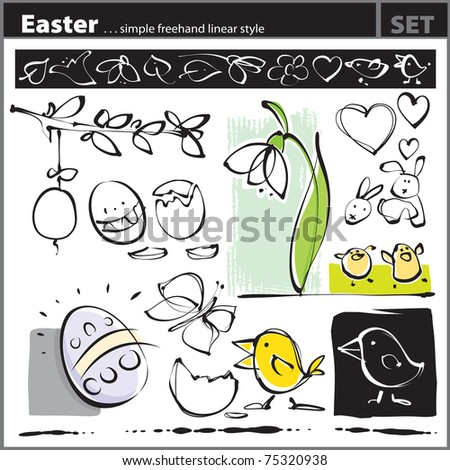 Easter set (freehand drawing style) - stock vector