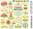 Easter set - labels, ribbons and other elements. Vector illustration. - stock vector