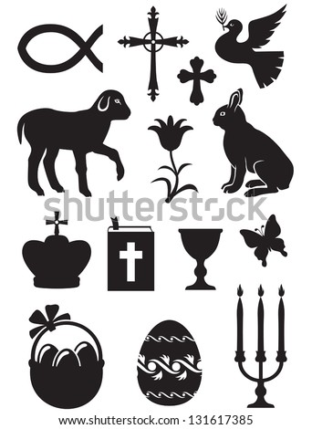 Easter set of silhouette black and white images - stock vector