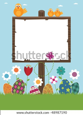 easter sign post ready for your text with eggs, flowers and chicks