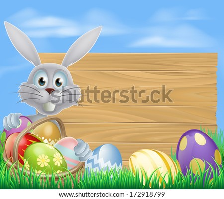 Easter sign with white Easter bunny rabbit and Easter eggs
